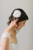 Silk Flower and Swarovski crystal Hair Comb #101HC-W