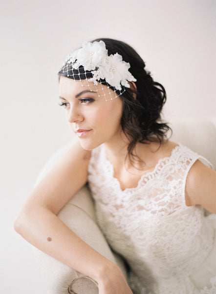 Silk Flowers, Lace Headband Veil #701V-W