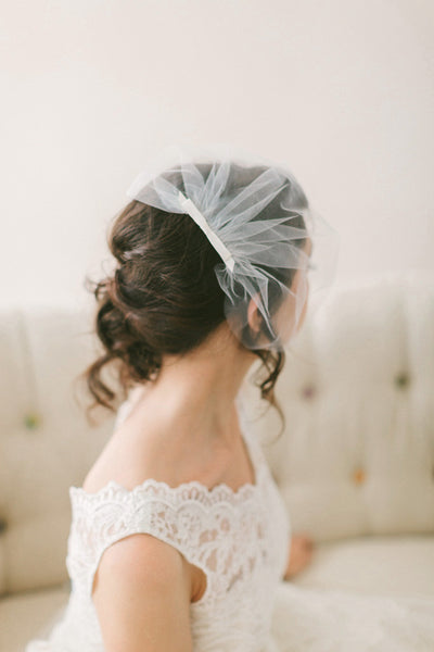 Tulle Birdcage Veil with Bow #716V-W
