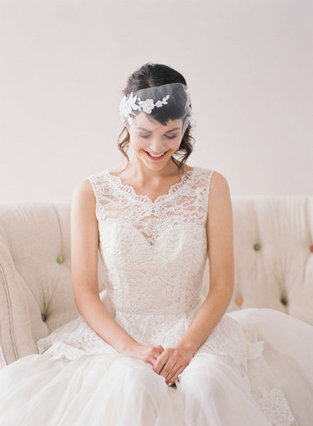 Tulle Birdcage Veil with Lace #712V
