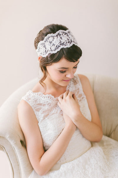 Wide Lace Bridal Headband #219HB
