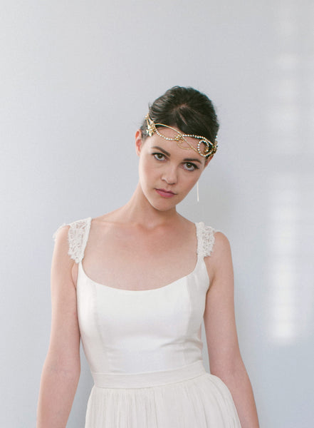 Wire Frame Crystal Headband with Leaves and Flowers - #201HB