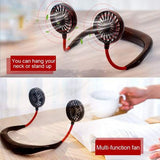 Portable Hands-Free Mini Personal Cooling Neck-Hanging USB Rechargeable Neckband Fan