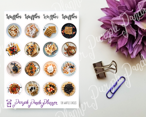 Circle stickers with waffle photos