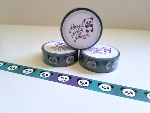 washi tape with various panda faces purple teal background