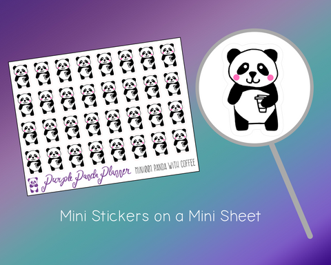 sheet of stickers panda holding coffee cup