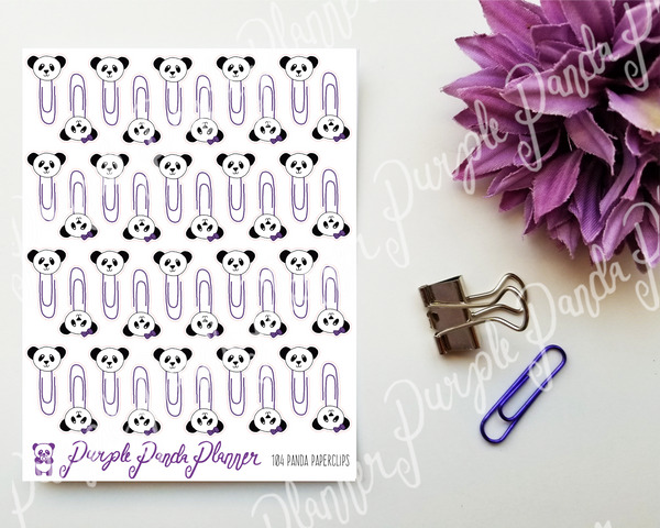 Panda Paperclips 104 Planner or Bullet Journal Sticker for Functional Planning