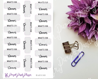 What's For Dinner Box Stickers for Planners or Bullet Journal, 105