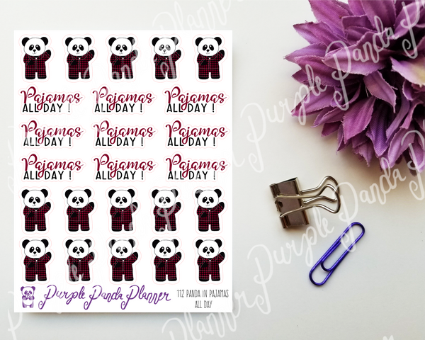 Panda in Pajamas All Day Stickers for Bullet Journal or Planner 112