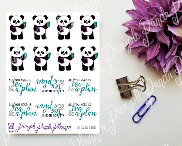 Tea and a Plan 116 | Stickers for Planner or Bullet Journal, Panda Stickers