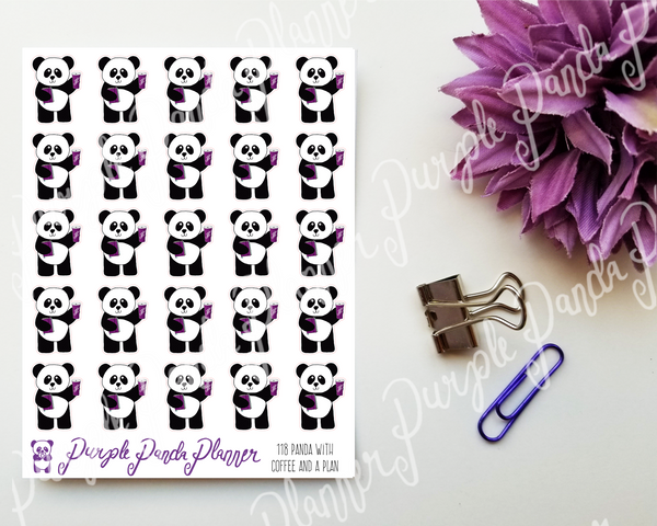 Panda With Coffee and a Plan 118 Planner or Bullet Journal Stickers for Functional Planning