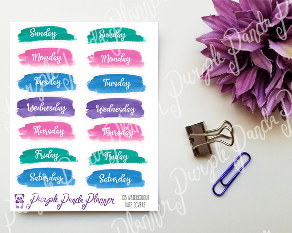 Date Covers - Watercolour Brush Strokes 135 on Clear or White Paper, Planner or Bullet Journal Stickers for Functional Planning