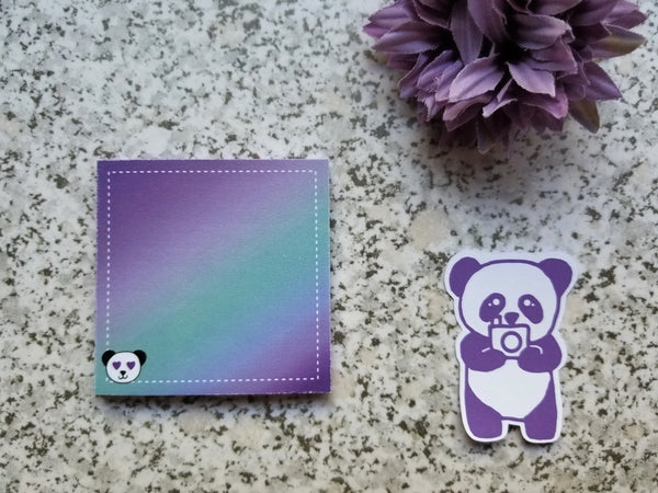 Sticky Notes - Purple Teal Ombre Gradient with Panda Heart Eyes