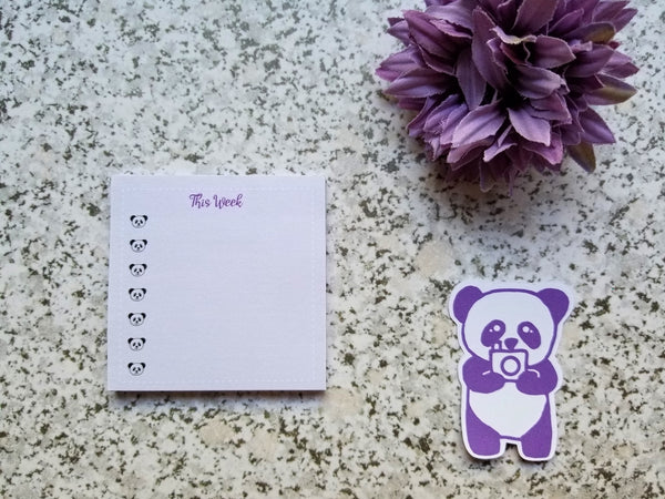 Sticky Notes - Pastel Purple This Week Panda Head Checklist