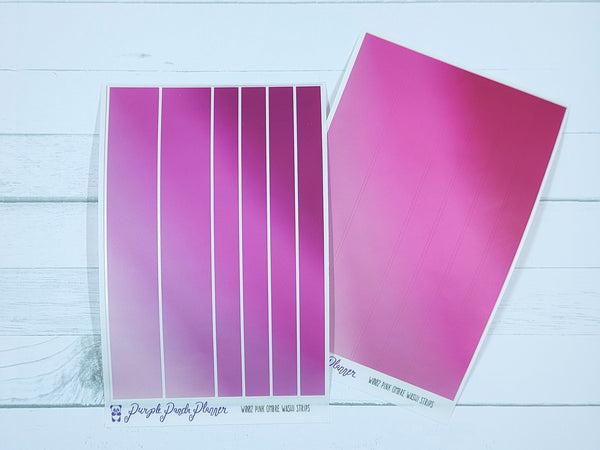 Pink Ombre Washi Sticker Strips on Clear Matte for Planner or Bullet Journal - W002