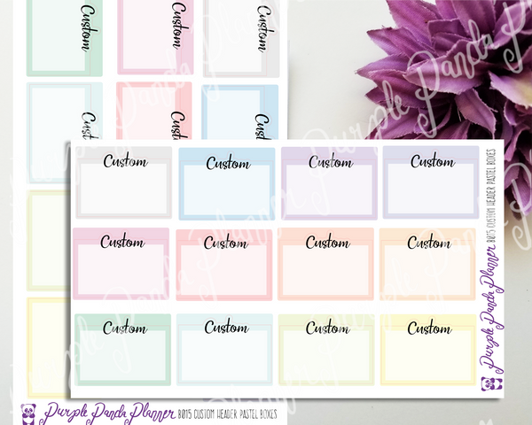 Custom Script Header Pastel Box Stickers for Bullet Journal or Planner, B015