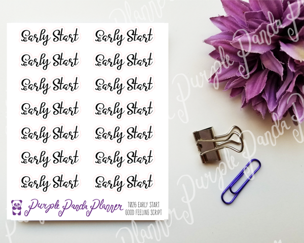 Early Start : Good Feeling Script Stickers for Planner or Bullet Journal T026