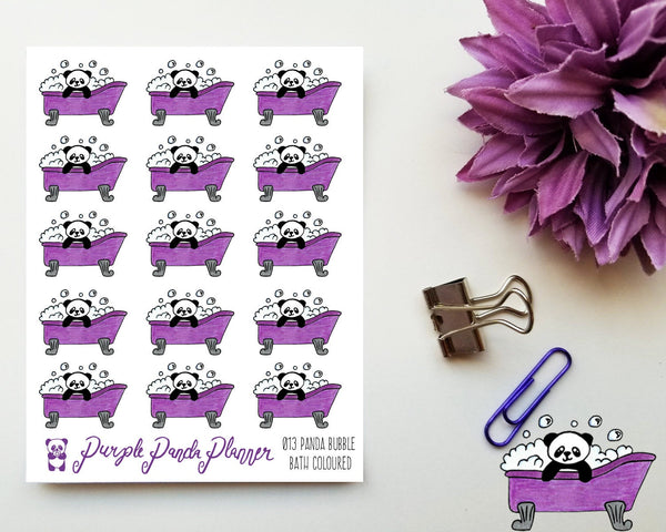Panda Bubble Bath Coloured 013 Planner or Bullet Journal Sticker for Functional Planning