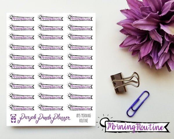 Morning Routine Banner 015 Planner or Bullet Journal Sticker for Functional Planning