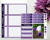 Purple Iris Mini Weekly Sticker Kit for Planner or Bullet Journal Functional Planning