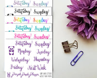 Hand Lettered Days of the Week, Weekly Header Stickers for Planner or BUJO