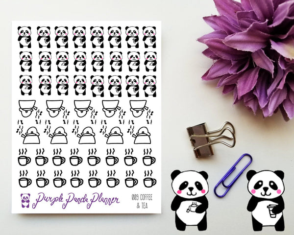 Panda, Coffee and Tea 009 Planner or Bullet Journal Sticker for Functional Planning