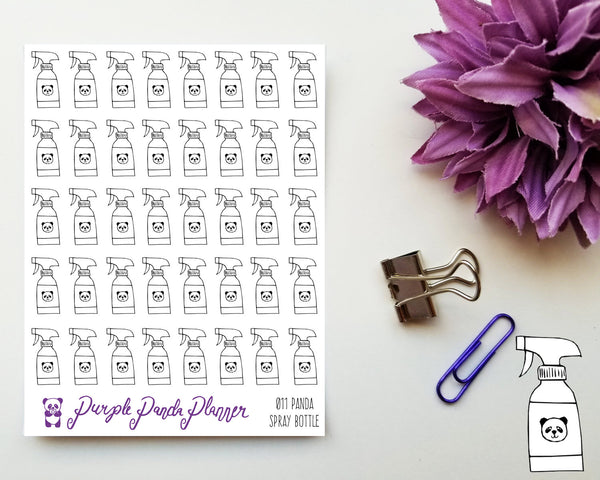 Panda Spray Bottle Icon Stickers for Planner or Bullet Journal, 011