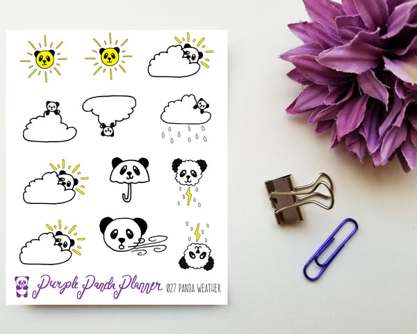 LAST CHANCE Panda Weather 027 Planner or Bullet Journal Sticker for Functional Planning