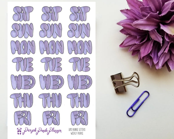 Purple Bubble Letters Weekly Headers Planner Stickers L013