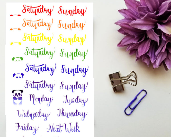 Hand Lettered Days of the Week, Weekly Header Stickers Colour Collection 2