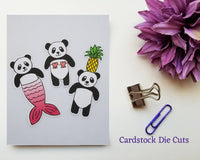 Mermaid Beach Panda Card Stock Die Cuts