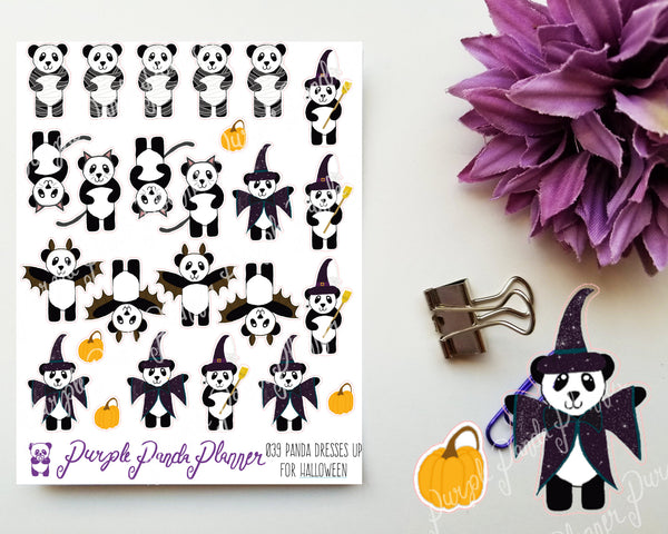 Panda Dresses up for Halloween 039 Planner or Bullet Journal Stickers for Functional Planning