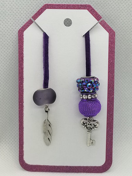 Bookmark for Planner, Bullet Journal, or Traveler Notebook - Purple Bling with Feather and Key - Silver