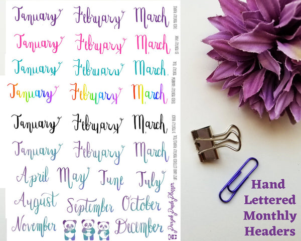 Hand Lettered Monthly Header Stickers for Planner or BUJO