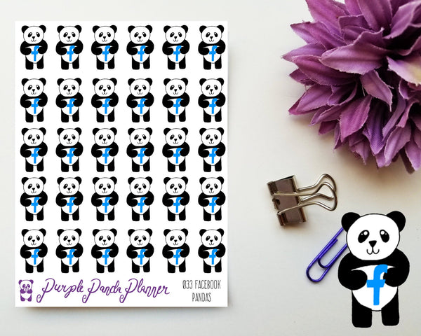 Social Media Pandas - Facebook 033 Planner or Bullet Journal Sticker for Functional Planning