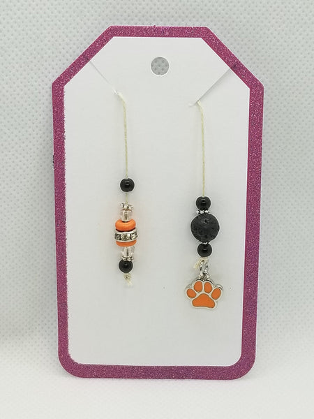 Bookmark for Planner, Bullet Journal, or Traveler Notebook - Black and Orange with Paw Charm and Lava Stone