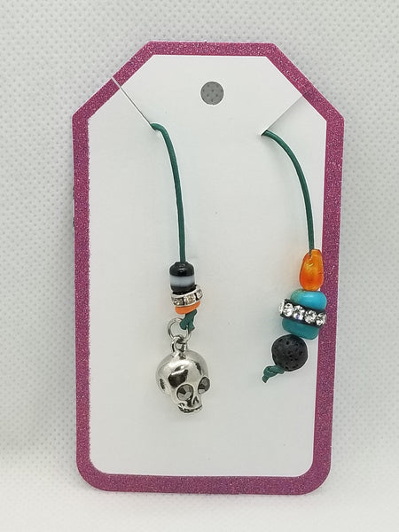 Bookmark for Planner, Bullet Journal, or Traveler Notebook - Skull Charm with Lava Stone and Beads