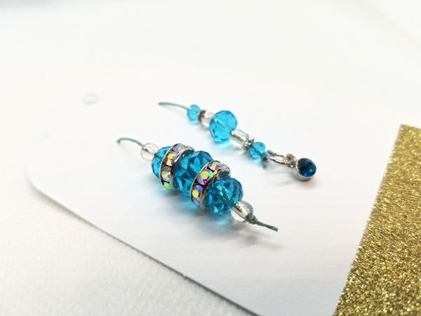 Birthstone Collection : December - Blue Zircon & Blue Topaz, Beaded Bookmark Charm for Planner, Bullet Journal, or Traveler's Notebook