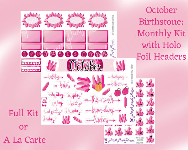 Birthstone Collection : October - Pink Tourmaline & Opal Monthly Sticker Kit for Planner or Bullet Journal, with Holo Vinyl Headers