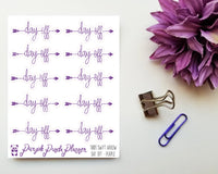 Day Off - Swift Arrow Script Sticker for Planner or Bullet Journal