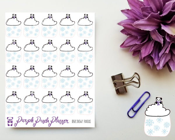 Snowy Pandas 060 Weather Stickers for Planner or Bullet Journal