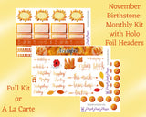 Birthstone Collection : November - Citrine & Topaz Monthly Sticker Kit for Planner or Bullet Journal, with Holo Vinyl Headers