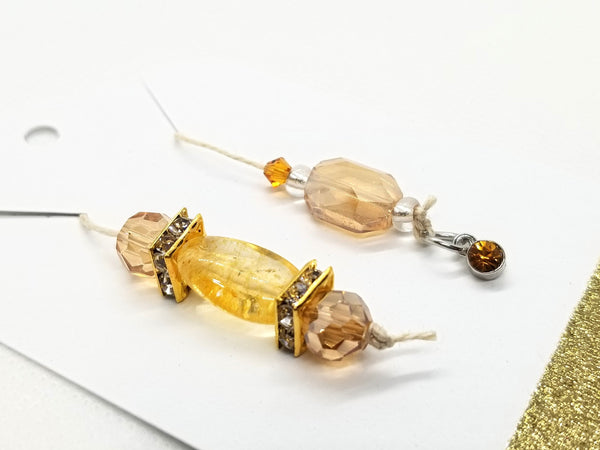 Birthstone Collection : November - Citrine & Yellow Topaz, Beaded Bookmark Charm for Planner, Bullet Journal, or Traveler's Notebook