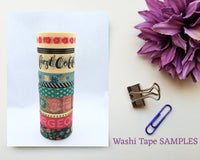 But First Coffee Floral Teal Washi Tape SAMPLES with foil options
