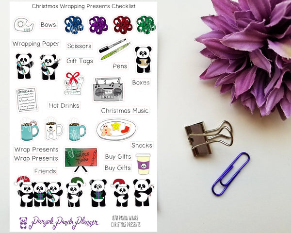Panda Wraps Christmas Presents Checklist 070 Stickers for Planner or Bullet Journal