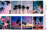 Cotton Candy Sky Palm Trees Weekly Photo Kit for Planner or Bullet Journal, Functional Stickers