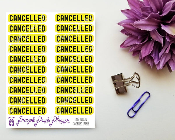 Cancelled Yellow Label Script Sticker for Planner or Bullet Journal