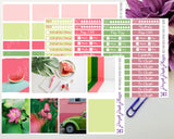 Pink and Green Spring Weekly Photo Kit for Planner or Bullet Journal, Functional Stickers