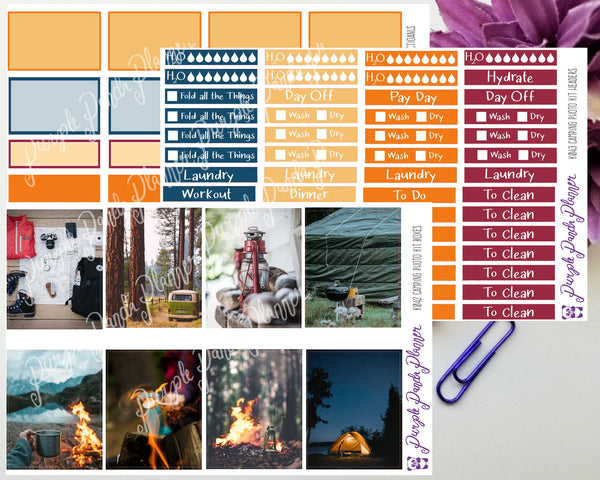 Camping Photo Kit for Planner or Bullet Journal, Functional Stickers