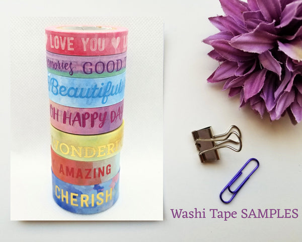 Pastel Quotes Washi Tape SAMPLES with Foil Options